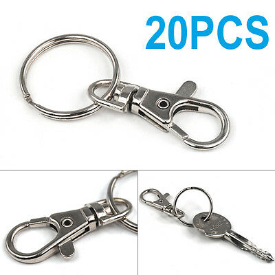 Small 20 Silver tone Lobster Trigger Swivel Clasps for Keyring Hook 37x16mm key
