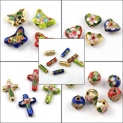 Butterfly,Heart,Cross,Round,Tube,Filigree Cloisonne Enamel Spacer Beads T055