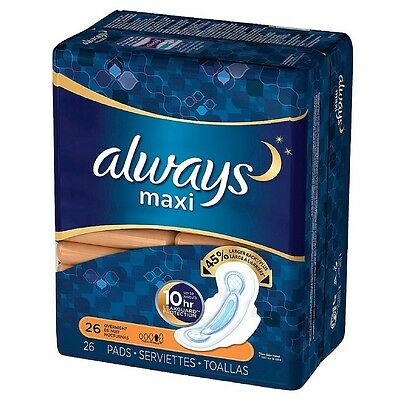 Always Maxi Pads Overnight Flexi-Wings 28 Each (Pack of 8)