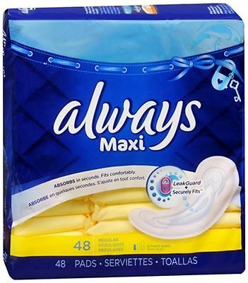 Always Maxi Pads Regular 48 Each (Pack of 6)