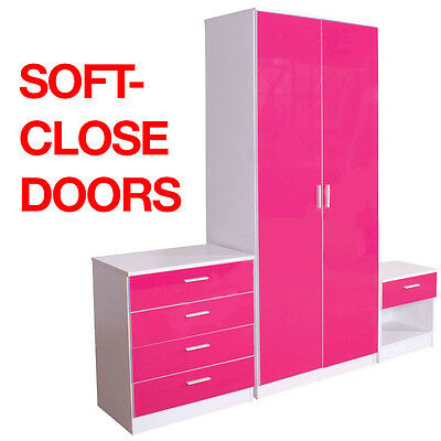 Pink/White High Gloss 3 Piece Bedroom Furniture Set - Wardrobe Chest Bedside