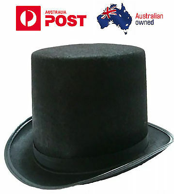 Top Hat Mat Hatter Party Costume Magician Wedding Fedora Halloween Formal Black