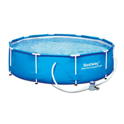 Bestway 10 Feet x 30 Inches Steel Pro Frame Round Above Ground Swimming Pool Set