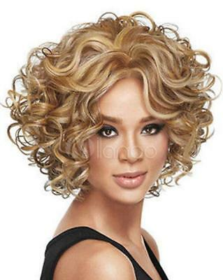 New Charm Women's short Mix Blonde Curly Natural Hair Full wigs A63