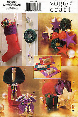 1990's  VOGUE Holiday Gifts & Decorations Pattern 9890