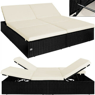 2x alu polyrattan sonnenliege tisch gartenliege rattan liege gartenm bel eur 279 99. Black Bedroom Furniture Sets. Home Design Ideas