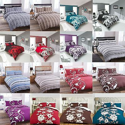 Complete 4 Piece Duvet Cover & Fitted Sheet & Pillowcase Bedding Quilt Case Set