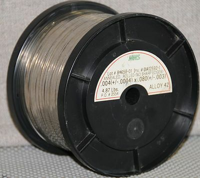 NOS MWS Annealed rolled Alloy 42 NiFe wire 4.87 lbs. roll .004 X .080 wire