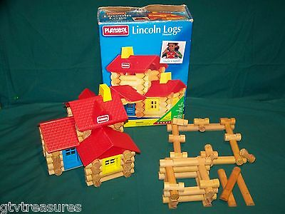 96 Count Playskool Lincoln Logs Lot With 1993 House Pieces Roof Door Window Log