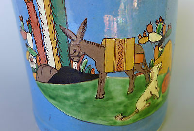 """Vintage 1940s Mexican pottery blue Tlaquepaque pitcher w/donkey & dog  8"""" tall"""
