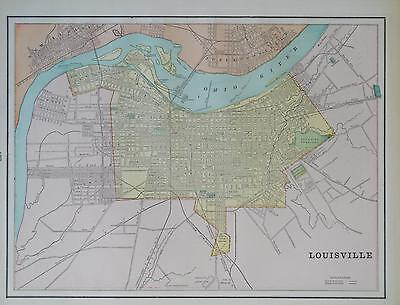 1891 Louisville, Ky. Color Atlas Map** Indianapolis map on back  125 years-old!!