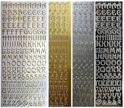 SCRIPT LETTERS - UPPERCASE Peel Off Stickers 10mm Capital Alphabet Silver Gold