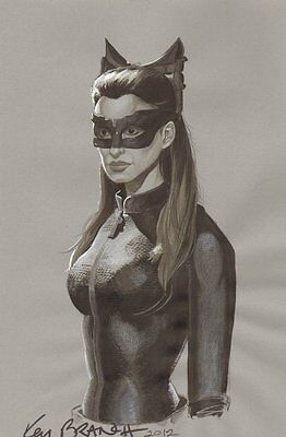 Anne Hathaway as Catwoman Commission - 2012 Signed art by Ken Branch