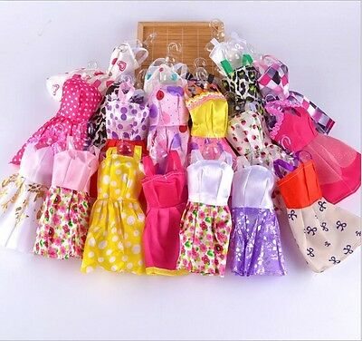 10 pcs/Lot Beautiful Handmade Party Clothes Fashion Dress for Barbie Doll