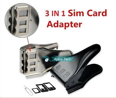 Black 3 in 1 Sim Micro Nano Sim Card Universal Cutter For iPhone 6 5 4 4S iPad
