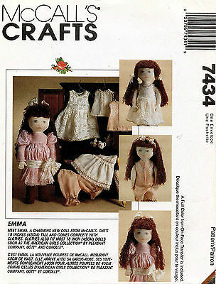 """McCall's Emma Doll and Clothes Pattern 7434 18"""""""