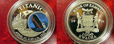 1998 Zambia Large Color Proof 1000 Kwacha- Titanic