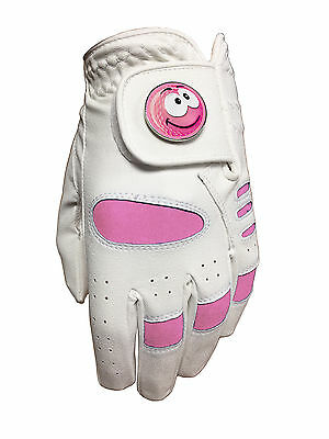 New Girls Junior Golf Glove. Size Large. Pink Smiley Smile Ball Marker.