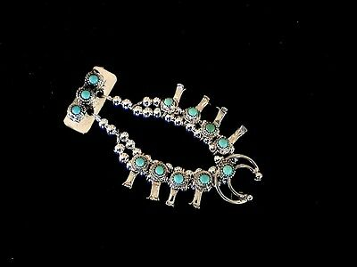 Auth.Native American Indian Mini Turquoise Squash Blossom Pin/Larry Curley