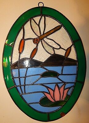 Leaded Stained Glass Sun Catcher Dragon Fly Hanging  #2