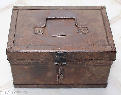 Antique Vintage Old Handmade Money Cash Chest Trunk Jewellry Box Treasury 19C