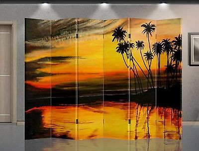 Double Sided Canvas Screen Room Divider - Sunset