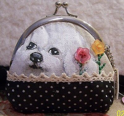 hand painted Bichon Frise dog  canvas coin purse  nice