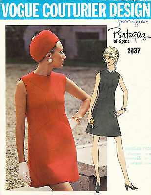 1960's VTG VOGUE Couturier Design Misses' Dress by Pertegaz Pattern 2337 Size 12