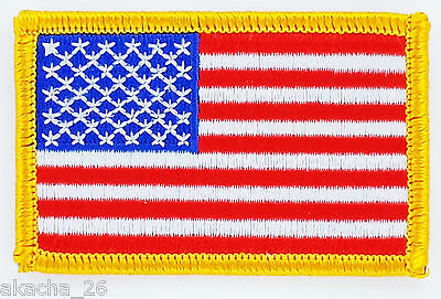 Patch Ecusson Brode Drapeau Usa Americain Etats Unis Insigne Thermocollant Flag