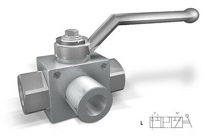 """hydraulic high pressure 3 way steel ball valve with fixing holes 1/2"""" 5075psi"""