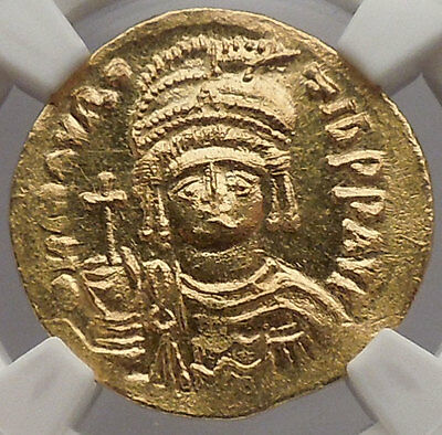 MAURICE TIBERIUS 583AD Constantiple GOLD Byzantine Coin NGC Certified MS i54534