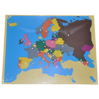 MONTESSORI WOODEN Puzzle MAP EUROPE Unlabelled Knobs Learn GEOGRAPHY Homeschool