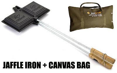 OZTRAIL DOUBLE SIZE JAFFLE + CANVAS CARRY BAG STORAGE Maker Cast Iron Cooking