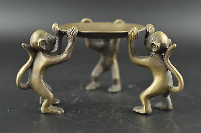 China Decorated Copper Carve 3 Lovely Exquisite Monkey Lucky Usable Candlestick