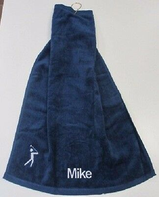 NEW Golf Towel with Golfer and  Personalised  Name  - with Metal Clip