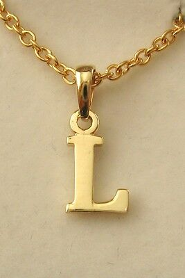 GENUINE SOLID  9K  9ct  YELLOW  GOLD  INITIAL  L  LETTER  PENDANT