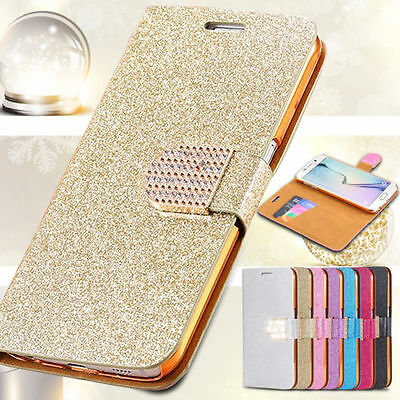 Luxury PU Leather Magnetic Flip Stand Bling Wallet Cover Case For iPhone Samsung