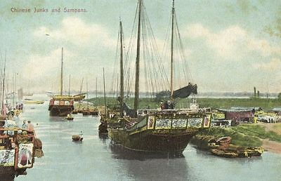 china, River Scene with Native Chinese Junks and Sampans (1910s)