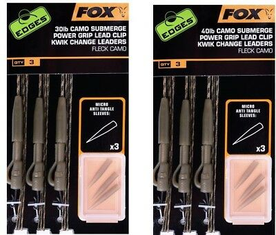 Fox NEW Carp Fishing Submerge Lead Clip Pre Tied Leaders *All Colours*