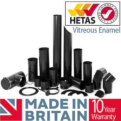 Stove Flue Pipe 150mm 6inch Vitreous Enamelled Pipe & Fitting Kits For Stoves