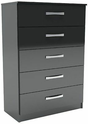 Lynx 5-Drawer High-Gloss Chest, Black