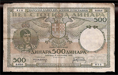 World Paper Money - Yugoslavia 500 Dinara 1935 P32 @ VG-F # 820