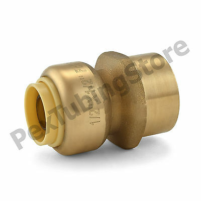 "(25) 1/2"" Sharkbite Style Push-Fit x 1/2"" FNPT Lead-Free Brass FNPT Adapters"