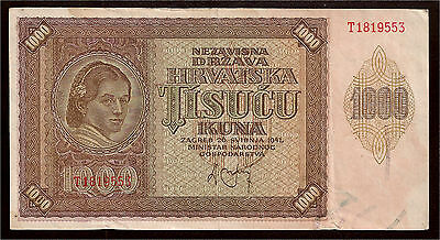 World Paper Money - Croatia 1000 Kuna 1941 P4 WWII @ Crisp VF #553
