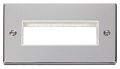 Deco 2G Plate 6 In-Line Aperture White Victorian Polished Chrome