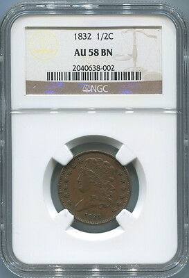 1832 Half Cent, NGC AU 58 BN Brown. Classic Head.