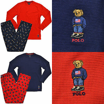 Polo Ralph Lauren Mens Polo Bear Pajama Set Thermal Shirt Flannel Pants Sleep