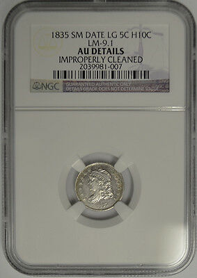 1835 Capped Bust Half Dime, NGC AU Details. Small Date Large 5C. LM 9.1