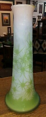 Authentic Antique 1910 Emile Galle Cameo Thistle 17 3/4 inches Tall Green Pink