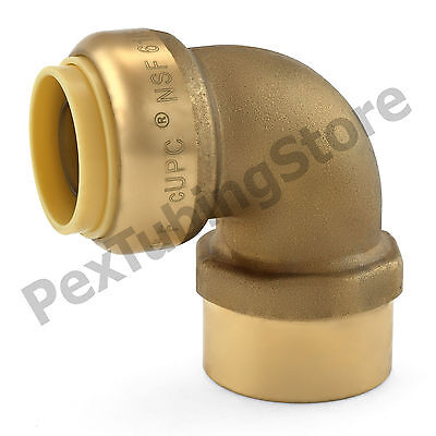 "3/4"" Sharkbite Style Push-Fit x 3/4"" FNPT Lead-Free Brass Female Threaded Elbow"